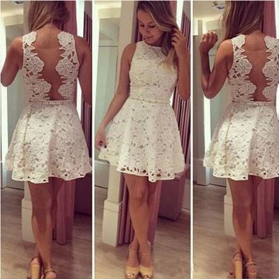 Newest Lace Jewel Mini Homecoming Dress UK Sleeveless High Quality_3