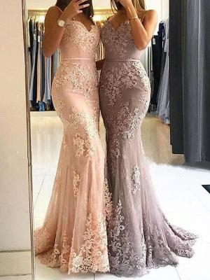 Red Lace Appliques Prom Dress UK   Mermaid Formal Dress UK_6