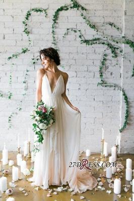 V-Neck Beach  Sleeveless Long Elegant Wedding Dress_3