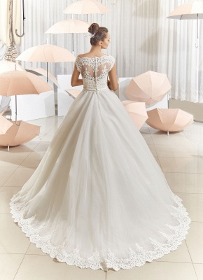 Elegant Illusion Tulle Princess Wedding Dress With Sweep Train_4