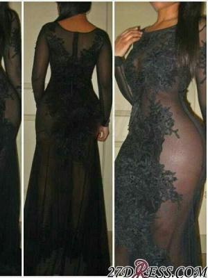 Elegant Black See Through Prom Dress UK Long Sleeve On Sale_2