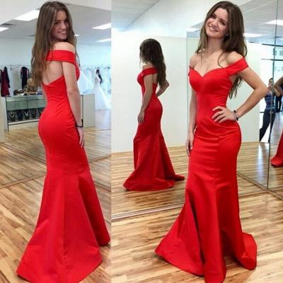 Elegant Red Mermaid Prom Dress UK Off-the-shoulder Sweep Train_3
