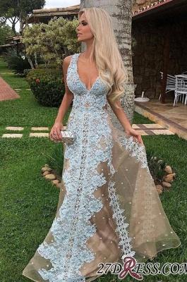 Amazing Floor-Length Tulle V-neck Lace Long Prom Dress UK_2