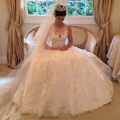 Pretty Sleeveless Appliques Wedding Dress Ball Gown Tulle Sleeveless_3