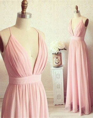 Sexy Pink Long chiffon Prom Dress UK Summer Floor Length_1