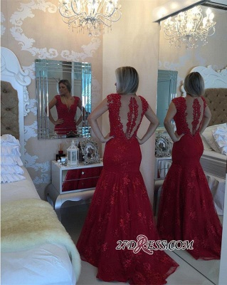 Mermaid Delicate V-neck Red Pearls Lace Cap-Sleeve Prom Dress UK_1