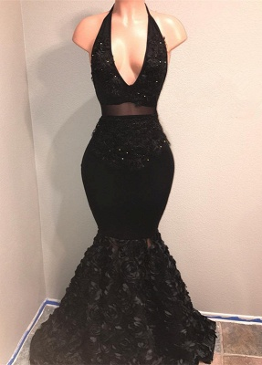 Black V-Neck Prom Dress UK   Mermaid Evening Gown With Flowers Bottom BA9153_1