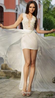 Lace Appliques Bodycon Wedding Dress  Sweep Train_1