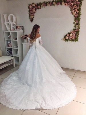 Modest Lace Off Shoulder Long Sleeve Ball Gown Wedding Dress_3