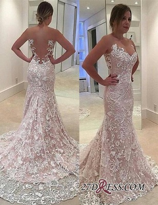 Sheer-Tulle Court-Train Elegant Lace Sexy Mermaid Sleeveless Wedding Dress_2