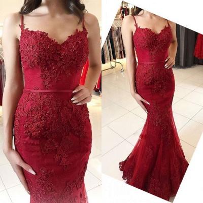 Red Lace Appliques Prom Dress UK   Mermaid Formal Dress UK_3