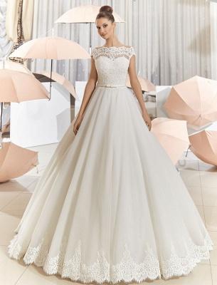 Elegant Illusion Tulle Princess Wedding Dress With Sweep Train_3