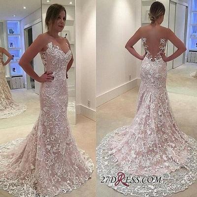 Sheer-Tulle Court-Train Elegant Lace Sexy Mermaid Sleeveless Wedding Dress_1