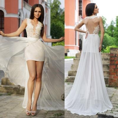 Lace Appliques Bodycon Wedding Dress  Sweep Train_4