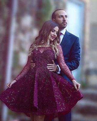 Timeless Long Sleeve Beadings Sequins Short Prom Dress UK A-Line On Sale BA1772_2