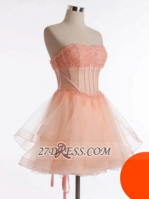 Modern Semi-sweetheart Sleeveless Short Homecoming Dress UK Beadings Lace-up Tulle Cocktail Gown_1