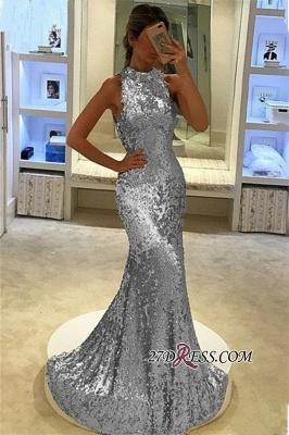 Sequins Sleeveless Sexy Mermaid Long Prom Dress UK_2