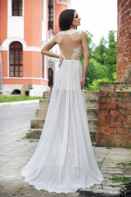 Lace Appliques Bodycon Wedding Dress  Sweep Train_3