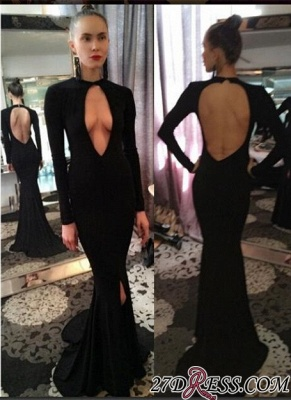 Long-Sleeve Prom Dress UK | Black Evening Gowns With Split_2