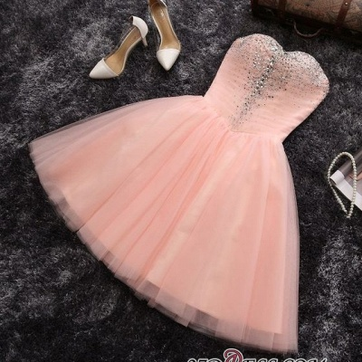 Crystals Sweetheart-Neck Sexy A-line Short Pink Homecoming Dress UKes UK_3