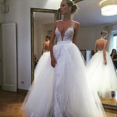 Gorgeous Spaghetti Strap Lace Ruffles Wedding Dress Online_3