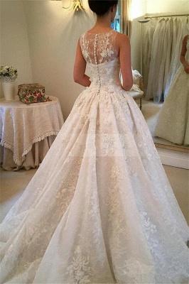 Pretty Sleeveless Appliques Wedding Dress Ball Gown Tulle Sleeveless_4