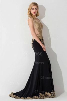 Elegant Mermaid Appliques Cap Sleeve Evening Dress UK Sweep Train_2