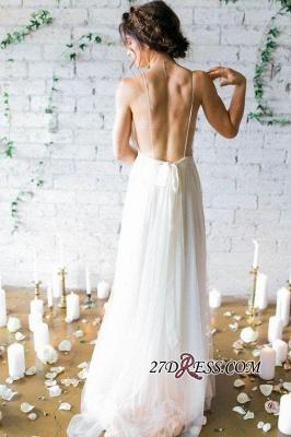 V-Neck Beach  Sleeveless Long Elegant Wedding Dress_2