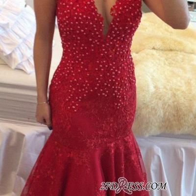 Mermaid Delicate V-neck Red Pearls Lace Cap-Sleeve Prom Dress UK_2