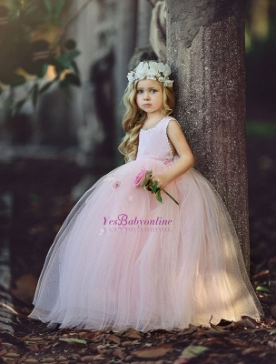 Ball-Gown Long Pink Cute Flower Girl Dresses BA6882_3