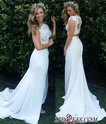 Two-Piece Zipper Lace Sexy Mermaid Sweep-Train Modest White Wedding Dress_4