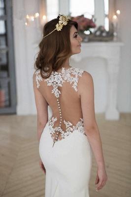 Stunning Sleeveless lace Sexy Mermaid Wedding Dress Zipper Button Back BA3691_6