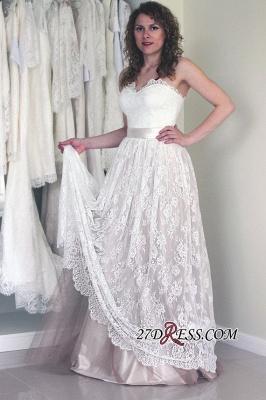 Sleeveless Lace A-line Cheap Long Sweetheart Sash Simple Wedding Dress_2