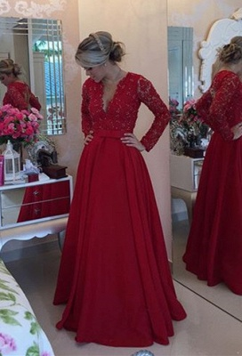 Delicate Red Chiffon Lace Prom Dress UK Pearls Long Sleeve BT0_1