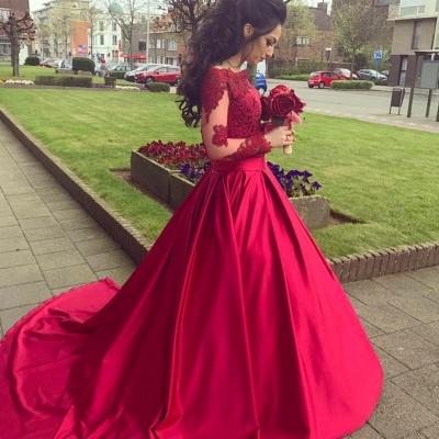 Gorgeous Long Sleeve Off-the-Shoulder Lace Evening Dress UK On Sale BA9082_3