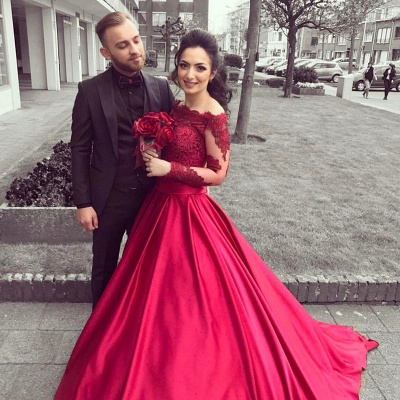 Gorgeous Long Sleeve Off-the-Shoulder Lace Evening Dress UK On Sale BA9082_4