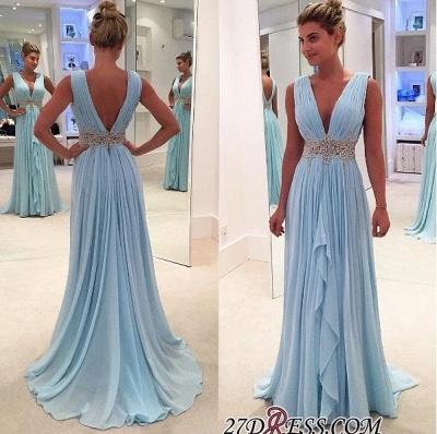 Gorgeous Ruffles A-Line V-Neck Blue Appliques Sleeveless Prom Dress UKes UK BA4574_1