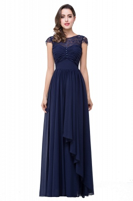 Sexy Chiffon Lace A-line Prom Dress UK Bowknot Cap Sleeve_1