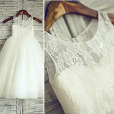Lovely Lace Tulle Short Flower Girl Dress Illusion Sleeveless_3