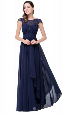 Sexy Chiffon Lace A-line Prom Dress UK Bowknot Cap Sleeve_6