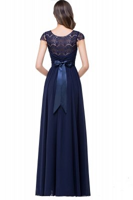 Sexy Chiffon Lace A-line Prom Dress UK Bowknot Cap Sleeve_5