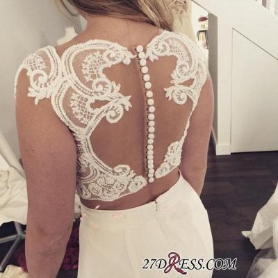 Two-Piece Zipper Lace Sexy Mermaid Sweep-Train Modest White Wedding Dress_2