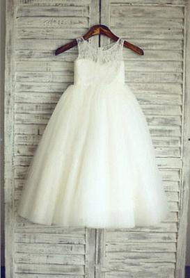 Lovely Lace Tulle Short Flower Girl Dress Illusion Sleeveless_1