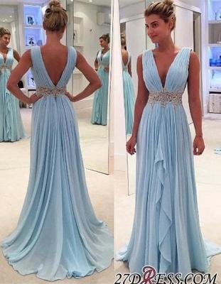 Gorgeous Ruffles A-Line V-Neck Blue Appliques Sleeveless Prom Dress UKes UK BA4574_2