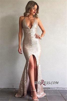 Front-Split V-Neck Sequined Elegant Backless Mermaid Prom Dress UK BA6840_3