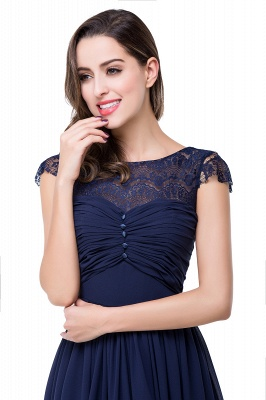 Sexy Chiffon Lace A-line Prom Dress UK Bowknot Cap Sleeve_3