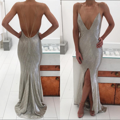 Elegant Sequins Deep V-neck Prom Dress UK Front Split BA3368_5