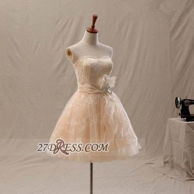 Lovely Semi-sweetheart Sleeveless Cocktail Dress UK Flower Appliques Tulle Short Homecoming Gown_4