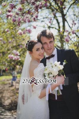 Train Stunning Half-sleeve Lace Open-Back Wedding Dress_1