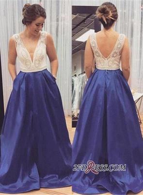 Sleeveless Zipper Long Beadings Luxury V-Neck Prom Dress UK_2